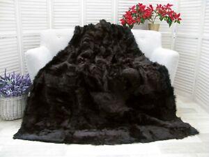 Dark Brown Lambskin Throw Real TOSCANA FUR PATCHWORK Blanket Sofa Bed Cover BT18
