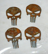 "Lot of 4 PUNISHER Skull Shapes 2"" Rusty Metal Vintage Ornament Craft Stencil"