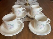 Set of 4 Pfaltzgraff  Large Coffee Cup Mug with saucers Pink Flowers Stoneware
