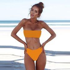 Women's Sexy Strapless Bandeau Push-up Bra Swimsuit Swimwear Bathing Bikini Set