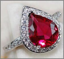3CT Ruby & Blanco Topacio 925 sólido anillo de plata esterlina genuino Talla 6-US o L-UK