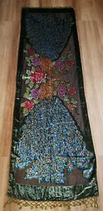 Vintage Burnout Velvet Peacock Printed Shawl Wrap Scarf Beaded Floral Chic