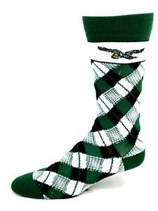 Philadelphia Eagles Football White Green & Black Plaid Crew Socks