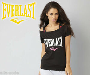 Everlast Black Pink & Silver Mock Layer Fitness Training T Shirt Top Small UK 10