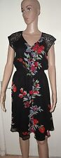 SIZE 10 BLACK & RED FLORAL CAP SLEEVE V-NECK SHEATH DRESS, M & CO, NWOT, LACE
