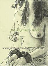 Pinch ACEO print female nudes pencil sketch woman lesbian bdsm bondage cuffs