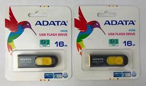 (Lot of 2) ADATA UV128 USB 3.0 Flash Drive in Black/Yellow - 16GB - Sealed