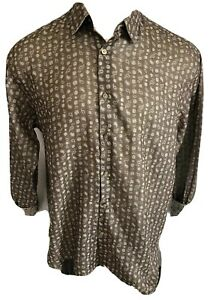 Equilibrio Milano Brown Dress Shirt Long Sleeve Men Button Front Size XXL