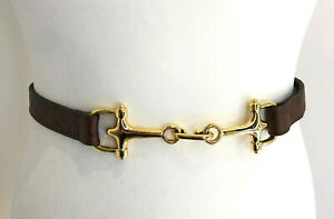 Vintage 90s slim brown textured leather gold snaffle horsebit waist hip belt VGC