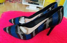 Fe En Caja Negro y Azul Piel De Serpiente Alto Tribunal Zapatos Uk Size 6 Inmaculada £ 49