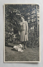 1946 B/W Photograph. Middle-Aged Lady in Fashion Dress and Jacket with her Dog
