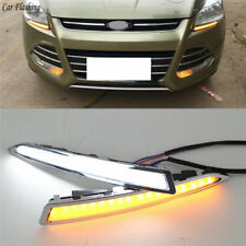 2x LED DRL Driving Daytime Running Day Lamp w Signal For Ford Kuga/Escape 13-16