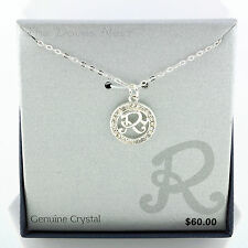 """SILVER PLATED 18"""" Chain NECKLACE with Initial """"R"""" Genuine CRYSTALS Round PENDANT"""