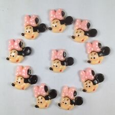 10 pcs Minnie Mouse Light Pink Bow Smiling Resin Flatbacks Hair Bow Crafts BIN