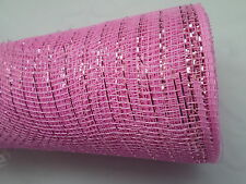 Baby Pink Deco Mesh with a Pink Metallic Thread