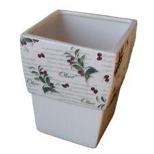 Übertopf Keramik Blumentopf weiß Olive eckig 13cm für Innen Landhaus Pflanzkübel