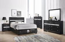 New Black Storage Queen or King 5Pc Bedroom Set Modern Furniture - Bed/D/M/N/C