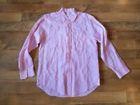 BROOKS BROTHERS men's classic fit medium 100% linen light pink summer shirt