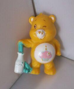 "ORIGINAL, VINTAGE, 1986, MINIATURE CARE BEAR ""BIRTHDAY BEAR"" with MILK BOTTLE."