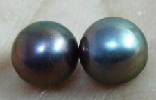 TAHITIAN GENUINE LOOSE PEARL PAIR PERFECT 8MM AAA NATURAL BLACK PEACOCK BLUE