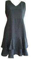 Ann Taylor Black & White Polka Dot Sleeveless Layered Lined Dress Womens Sz 4P