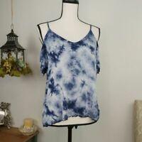 American Eagle Cold Shoulder Flutter Sleeve Blouse Women's Size S Tie Dye Blue