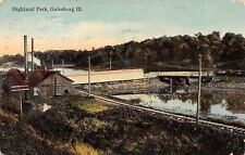 Galesburg Illinois~Highland Park~AT&SFRR Railroad Tracks~Covered Bridge~1912 PC