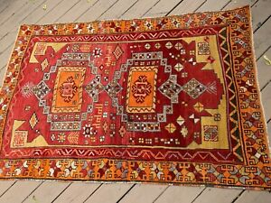 Antique Turkish Wool Rug Dated 1918 Bright Colors Excellent Condition