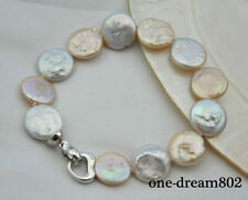 """8"""" 15mm coin white pink freshwater pearl bracelet"""