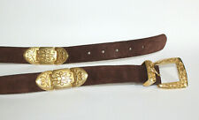 FOSSIL Brown Suede Leather Belt w Heavy Gold Tone Western Scrollwork Size Large