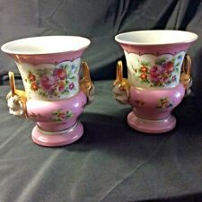 """Pair French Porcelain mantel-urns Hand Painter Floral Both Sides """"Chinese"""" Hand"""