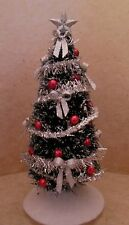 Dollhouse miniatures handcrafted Sparkle Christmas tree wsilver bows &red balls