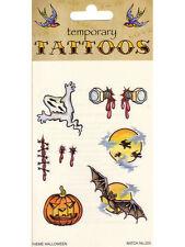 Halloween Temporary Tattoos Scars Ghost Bats Body Art Fancy Dress Accessory New