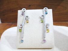 ORECCHINI lunghi gocce multicolor diamanti ct 1.30 F vs oro bianco 18 kt - 50%
