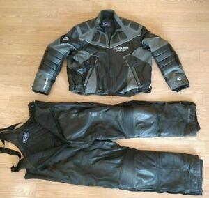 Polaris Leather Snowmobile Jacket Size XXL & Bibs Size XL
