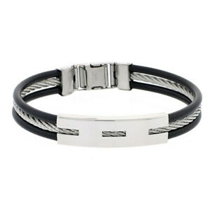 """Men 9MM Stainless Surgical Steel Cable Rubber Cable Bracelet 8"""" Black"""