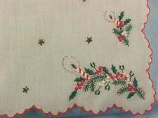 Vintage Christmas Hankie Holly & Candle Embroidery Holiday Nice