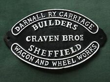 Railway Carriage Sign 27cm Cast Iron Repro Craven Brothers Wagon Builders Train