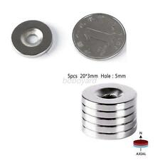 5pcs 20x3mm Neodymium Disc Super Strong  Earth Magnets With Holes 5mm fastener