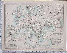 1889 LARGE ANTIQUE HISTORICAL MAP EUROPE  BARBARIAN INROADS FALL OF ROMAN EMPIRE