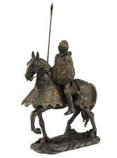 "10.5"" Armored Medieval Knight & Horse w/ Lance Statue Battle Warrior Sculpture"