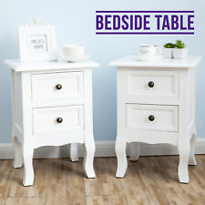 Pair of White Shabby Chic Side Tables Night Stand Beside Cabinets With Drawers