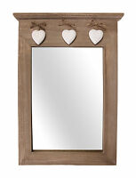 Wooden Portrait Hall Mirror with 3 Hanging Hearts Wall Mounted