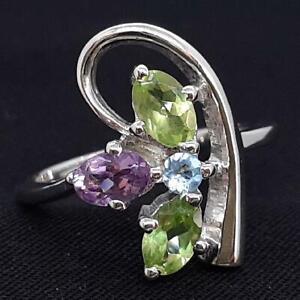 World Class 1.70ctw Peridot, Amethyst & Swiss Topaz 925 Silver Ring Size 8.5