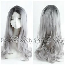 Women Korean Wig Wavy Curly Ombre Black Root Grey Cosplay Anime Wigs Full Wigs