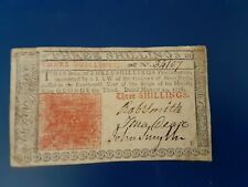 NJ-177 MARCH 25, 1776 3s THREE SHILLINGS NEW JERSEY COLONIAL CURRENCY