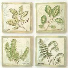 Set 4 Green Leaf Botanicals Handpainted Plaques Wall Art Pamela Gladding Signed