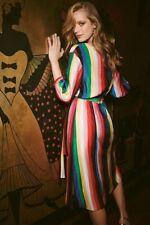 Alice + OLivia Rainbow Stripe Dyanna Wrap Midi Dress Size 0