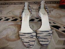 Salvatore Ferragamo Animal Stripe Print Open Toe Pumps Heels Shoes in Size 8.5