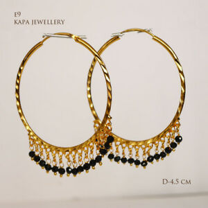 kapa 18CT Gold Earrings Asian Hoop gold plated Large earrings